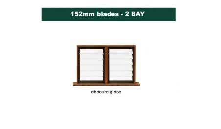 152 mm blades  1168 mm width  NFP frost glass louvre: twin gallery